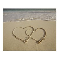 Two overlying hearts drawn on the beach