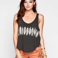 Rvca Feather Strip Womens Tank Off-Black  In Sizes
