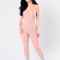 Roll Up Jumpsuit - Dusty Blush