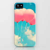 Pink Balloons on Deep Blue  iPhone & iPod Case by Andrea Caroline