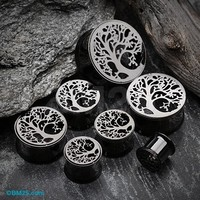 A Pair of Blackline Mystic Tree of Life Screw-Fit Tunnel Plug