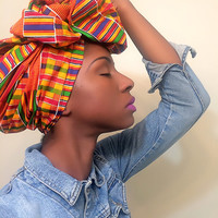 Kente cloth African headwrap - Ankara turban - kente african Head wrap - African print turban - Wax print headwrap - tribal turban