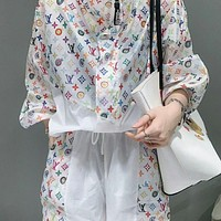 LV Louis Vuitton new letter printing sunscreen clothes zipper loose jacket + shorts two-piece suit