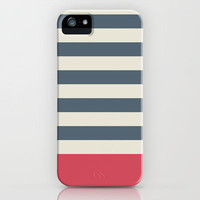 Navy Nautical Stripes Artsy Vintage iPhone Case by The Little Canopy | Society6