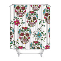 Sugar Skulls White Pink Teal Yellow Shower Curtain