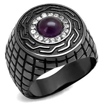 Men's Band Rings TK2813 Light Black Stainless Steel Ring with Semi-Precious