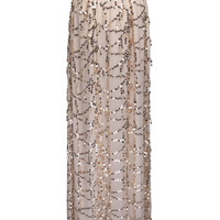 Cream Sequined Bowknot Waist Wrap Front Maxi Beach Skirt