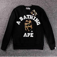 BAPE AAPE Autumn Winter Popular Men Women Casual Round Collar Velvet Sweater Top Sweatshirt Black