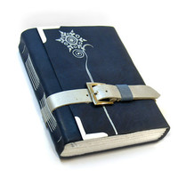 Journal  Blue Leather Handmade Journal  Silent Night by Baghy