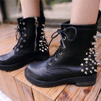 Hot Ladies Black Spike Studs Punk Gothic Lace Up Engineer Motorcycle Ankle Boot