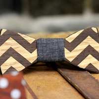 Edmund Wooden Inlay Bow TIe - $85