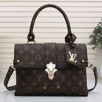 Louis Vuitton LV Women Leather Square Backpack Bookbag Daypack Satchel