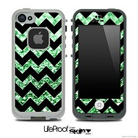 Black Chevron Green Glimmer Skin for the iPhone 5 or 4/4s LifeProof Case