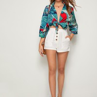 Tie Front Collar Tropical Print Top
