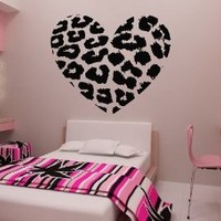 "23.6"" X 27.5"" Leopard Heart Wall Decals Removable Wall Decal Sticker DIY Art Decor Mural Vinyl Home Room Leopard Spot Heart Print"