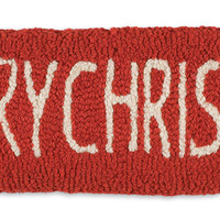 Merry Christmas Hand Hooked Wool Pillow