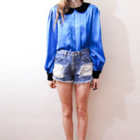 tea and tulips boutique - one of a kind vintage. — cobalt pan blouse