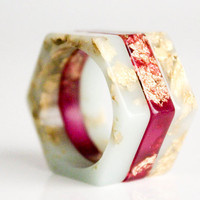 mint gold thin size 9 hexagonal eco resin ring
