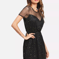 Elastic Waist Star Mesh Dress