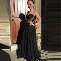 Sweetheart Black A-Line Prom Dresses