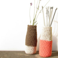 Coral pink vase / eco friendly wedding decor / modern home accent /  Beach style decoration