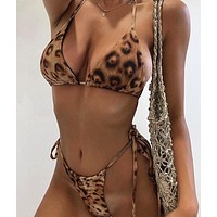 2020 new women's sexy double-sided leopard print split bikini