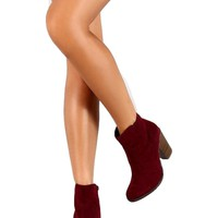 Ladies Suede Booties, Wine