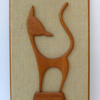 Mid century modern 1960s teak cat plaque wall hanging