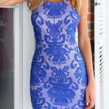 Blue Spaghetti Strap Backless Lace Embroidered Bodycon Dress