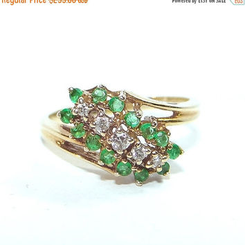 Sale - Valentines Day 14K Gold Emerald Ring Vintage 14k Plumb Yellow Gold Emerald & Diamond Cocktail Ring