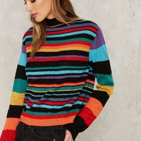 Nasty Gal Blinded by Rainbows Striped Sweater