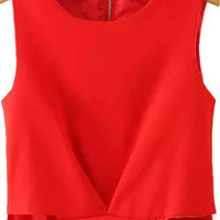 Red Cut Out Sleeveless Tank Top