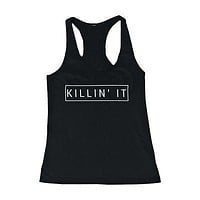 Women's Black Cotton Graphic Tank Top - Killin' It Killing It Tanks