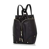 River Island Womens Black leather-look drawstring backpack