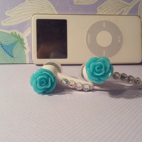 New Frosted Teal Rose earbuds with swarovski crystals