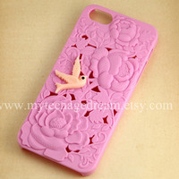 iphone 5 case, floral Flower iphone 5 Case, light pink bird on the flower pink case for Iphone 5, iphone 5 hard case Cover