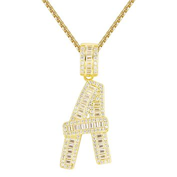 Custom Silver Baguette Bling A-Z 14k Gold Finish Initials Free Chain