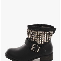 Black Hey Stud Moto Boots | $12.50 | Cheap Trendy Boots Chic Discount Fashion for Women | ModDeals.
