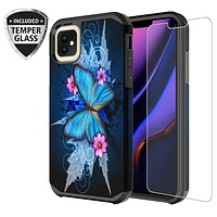 Apple iPhone 11 Pro , iPhone 11 Pro, [Include Temper Glass Screen Protector] Slim Hybrid Dual Layer [Shock Resistant] Case for iPhone 11 Pro - Blue Butterfly
