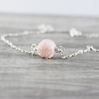 Pink Druzy Necklace, Sterling Silver Necklace, Simple Pendant Necklace, Light Pink Necklace, Gemstone Necklace, Circle Necklace, Blush Pink