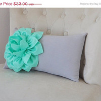 Mint Green Lumbar Pillow -Mint Dahlia on Gray Lumbar Pillow 9 x 16 - Nursery Rocker Recliner Pillow -