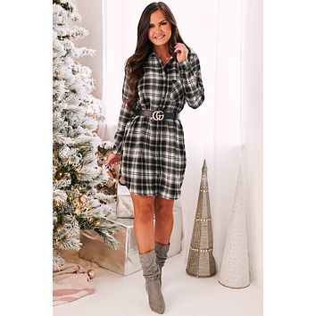 Playing The Game Plaid Dress (Black Multi)