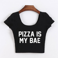 PIZZA IS MY BAE Tits KILLIN'IT Printed Shirts Round Neck Slim Sexy T-shirts Active Tops