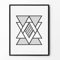 Geometric Wall Art, Abstract Triangle, Black and White, Wall Decor, Triangle Poster, Scandinavian, Minimalist, Nursery Wall Art
