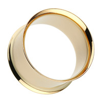 Gold Plated Double Flared Ear Gauge Tunnel Plug