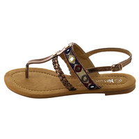 T-strap Thong Style Slingback  Brown Flat Sandals