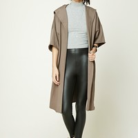 Raw-Cut Hooded Cardigan