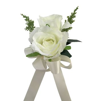 Wrist Corsage: Ivory silk flowers with greenery (Ribbon color can be picked from the list)