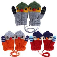 Winter Baby Boys Girls Knitted Gloves Warm Rope Full Finger Cartoon kid Mittens Gloves for Children Toddler Kids