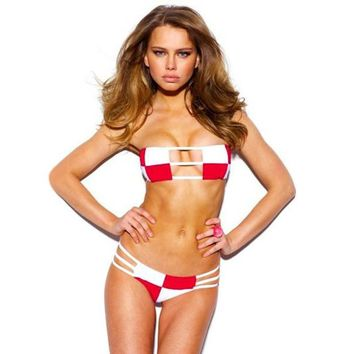 Summer New Arrival Hot Swimsuit Beach Stylish Sexy White Red Mosaic Bottom & Top Swimwear Bikini [6532666055]